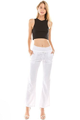 Onue Collection Women's Linen Wide Leg Pants, Small, White -