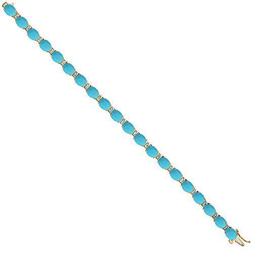 10K Yellow Gold Natural Turquoise Oval Tennis Bracelet 7x5 mm stones, 7 inches