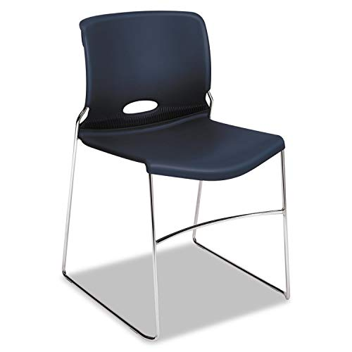 HON Olson Stacking Chair - Guest Chair for Office, Cafeteria, Break Rooms, Training or Multi-Purpose Rooms, Regatta/Blue Shell, 4 pack (H4041) (Stacking Guest Chair)