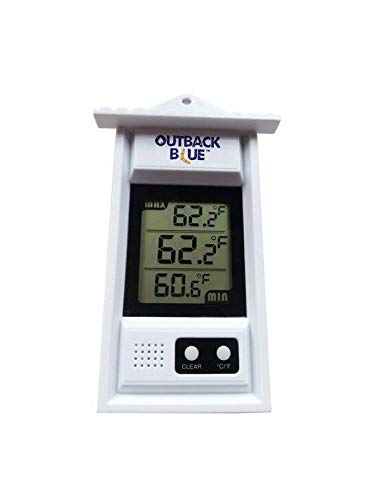 Outback Blue Digital MIN MAX Thermometer. Perfect for Patio Or Greenhouse. Accurate Weather Thermometer with Current Temp & Auto Sensor for Max Min Readings. Use Outdoors Or Indoors.