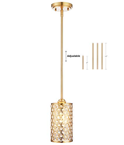 Light Antique Brass Crystal - Doraimi 1 Light Crystal Pendant with Dyed Antique Brass Finish,Modern and Concise Prandant Fixture with Polyhedral,Opal Crystal Shade for Bar, Dining Room, Corridor,Living Room.LED Bulb(not Include)