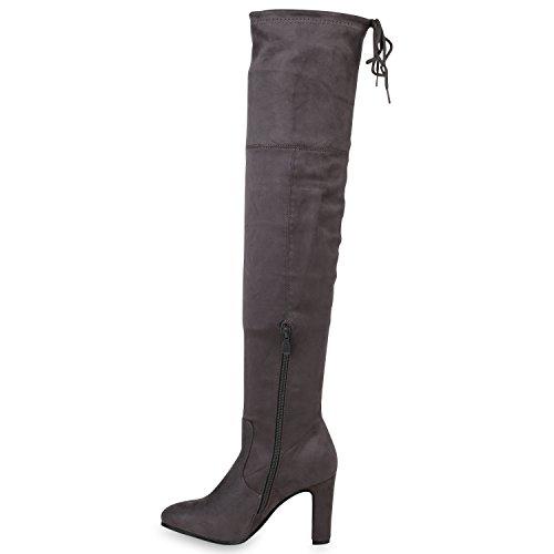 Stiefelparadies Damen Stiefel Langschaftstiefel Overknees Glitzer Schuhe Flandell Grau Schleifen Brooklyn