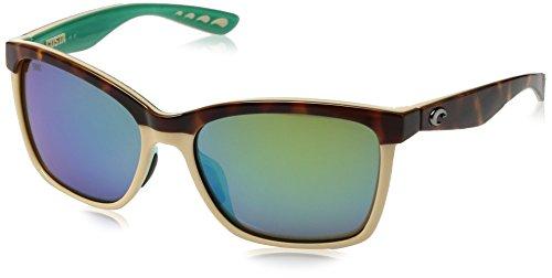 Costa Del Mar Anaa Sunglasses Shiny Retro Tort/Cream/Mint/Green Mirror ()