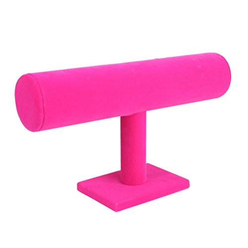 Clearance Deal! Hot Sale! Jewelry Rack, Fitfulvan Velvet Jewelry Rack Bracelet Necklace Stand Organizer Holder Display (Hot Pink)