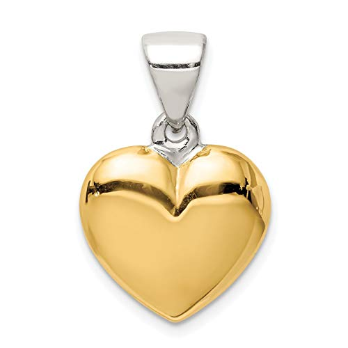 (925 Sterling Silver & Gold-tone Polished Puffed Heart Charm Pendant)