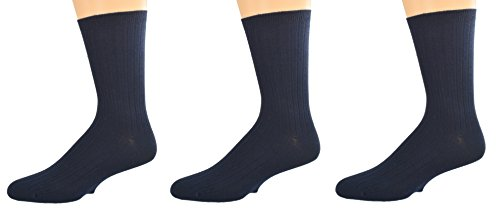 Sierra Socks Unisex Big Boys Girls Classic Dress Uniform Ribed 3 Pair Pack Crew Socks K263 3007 (Sock Size M, Shoe Size 12-6, NAVY) (Dress Sock Rib Classic)