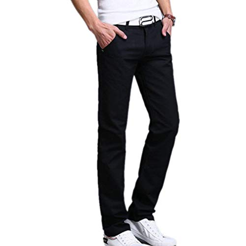 Casual Pantaloni Unita A Tinta Marca color Di Mode Uomo Slim Nero Solido 30 Dritti Da Size Fit Colore XXfrq