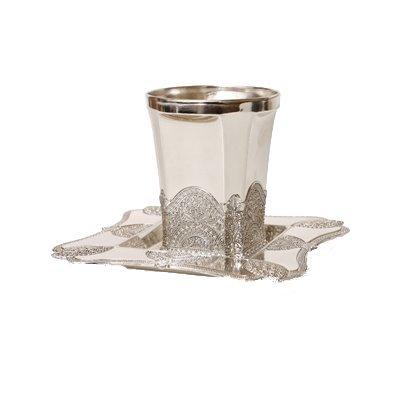 - Kiddush Cup Set Filigree Silver Plate 3.5