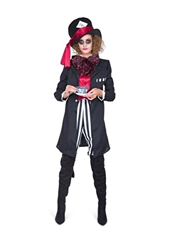 Black Hatter Costume - Halloween Womens Circus Suit, Trouser, Top Hat, Large ()