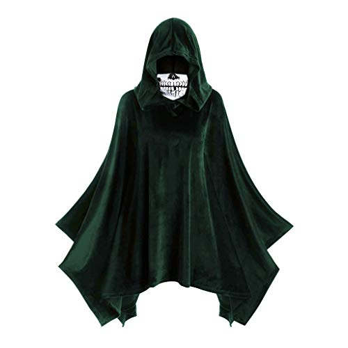 Android 16 Halloween Costume (LIM&SHOP Halloween Cloak Hooded Black Halloween Costume Unisex Witch, Robe Cape Cosplay Christmas Skull Print)