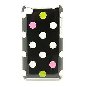PatrÓn multicolor del lunar contraportada dura del caso para iPod Touch4 (Negro)