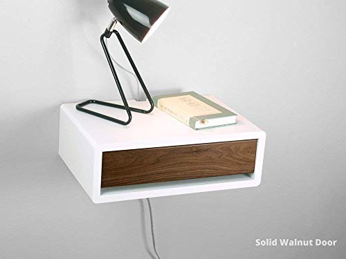 (Mid Century Modern Floating Nightstand, Retro Style Wall Mount Bedside Table, Side Table)