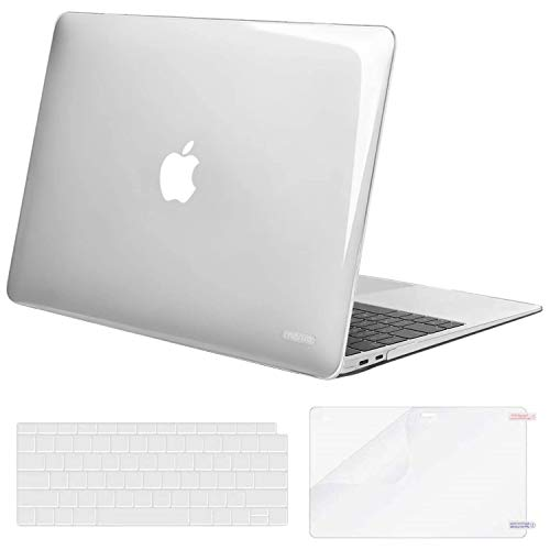 MOSISO MacBook Air 13 inch Case 2020 2019 2018 Release A2337 M1 A2179 A1932, Corner Protective Plastic Hard Shell&Keyboard Cover&Screen Protector Compatible with MacBook Air 13 inch Retina,Transparent