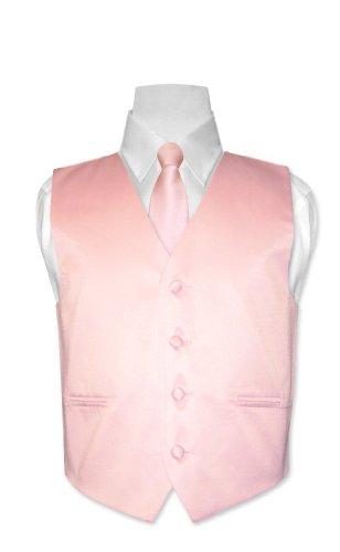 - Covona BOY'S Dress Vest & NeckTie Solid PINK Color Neck Tie Set size 10