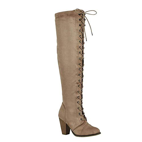 (Forever Women's Camila-47 Chunky Heel Lace up Over-The-Knee High Riding Boots, Taupe Suede (7))