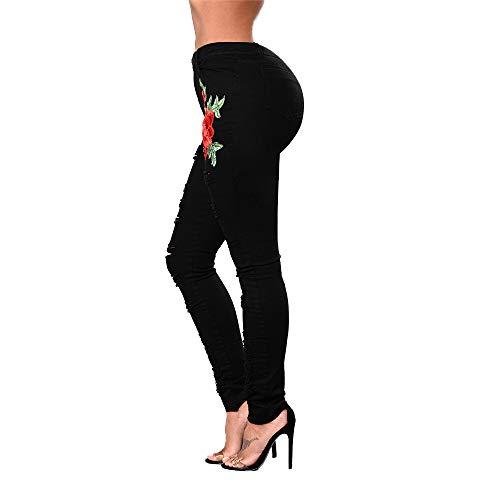 Bordado Agujero Mujer Cintura Talla Pantalones Moda Media Elasticidad Apretado Pantalones Ropa Calle Black Grande pnXqYRY4