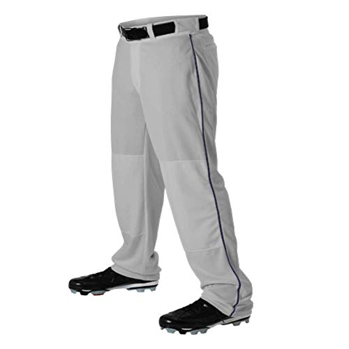 - Teamwork Youth Baseball Pants Grey w/Navy Pipe X-Large Open Bottom Sunset 14oz.
