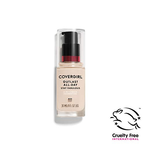 (COVERGIRL Outlast All-Day Stay Fabulous 3-in-1 Foundation, 1 Bottle (1 oz), Ivory Tone, Liquid Matte Foundation and SPF 20 Sunscreen (packaging may vary))
