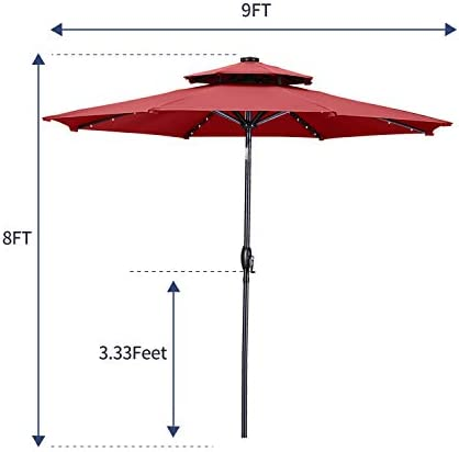 Diophros 10ft 2 Tiers Solar Patio Umbrella