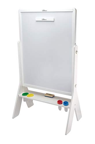 Little Partners Contempo 2-Sided Kids Art Easel | Height Adjustable Chalk Board & Dry Erase Board - Soft White