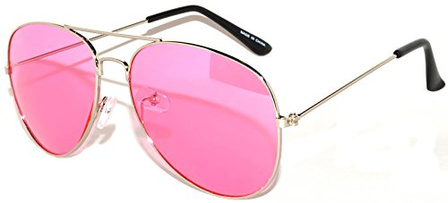 Classic Aviator Style Sunglasses Pink Gradient Lens Metal Silver Frame - Pink Sunglasses Colored