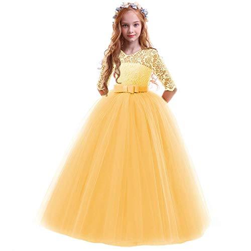 FYMNSI Meisjesjurk, bloemenpatroon, kant, 3/4-mouwen, tule, prinses, maxi-jurk, bruidsmeisje, bruiloft, verjaardag…