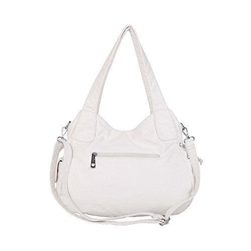 Tote Leather Angelkiss Washed Shoulder Satchel Handbags Women �� Purses Bag Top Bag White Handle Messenger zqrx8vwHz