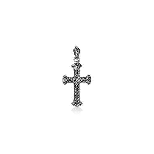 (Gemondo 925 Sterling Silver Marcasite Cross Pendant)