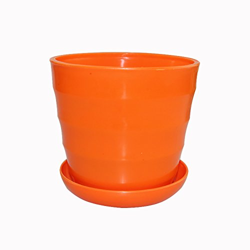 Planter Plastic Orange (HOBULL Colorful Plastic Plant Pots Planter Mini Resin Garden Plant Pot Flower Seedlings Nursery Pot with Pallet Home Decoration Flower Pot)