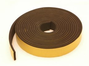 Rubber-Stuff Neoprene Rubber Self Adhesive Strip 30MM Wide X 5MM Thick X 5M Long (Black With Yellow Backing Tape)