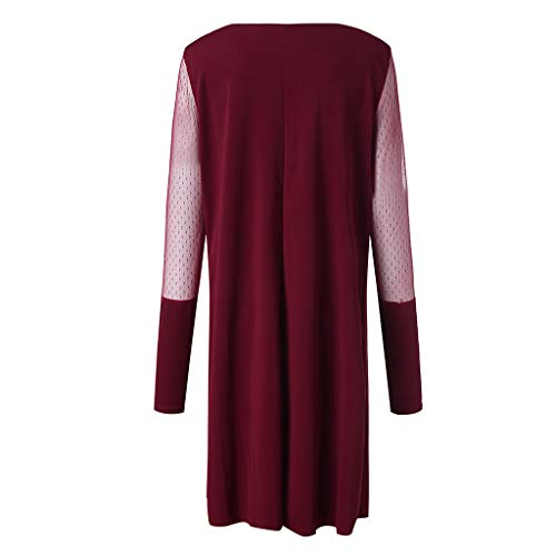Plus Size Women Long Sleeve Baggy Midi Dress Ladies Party V Neck Lace Tunic Dress Top 2XL-6XL (Wine Red, XXXXXL) by Unknown (Image #7)