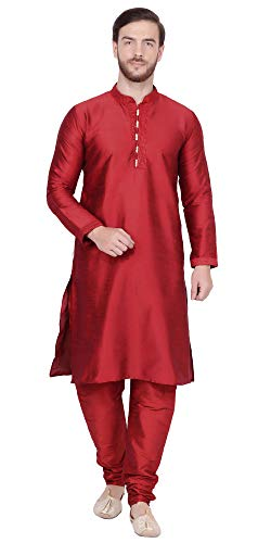 - SKAVIJ Men's Art Silk Kurta Pajama Indian Traditional Dress (Medium, Red)
