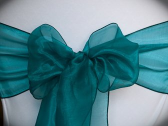 MDS Pack of 25 organza chair sash bow sashes For wedding and Events Supplies Party Decoration chair cover sash -dark teal
