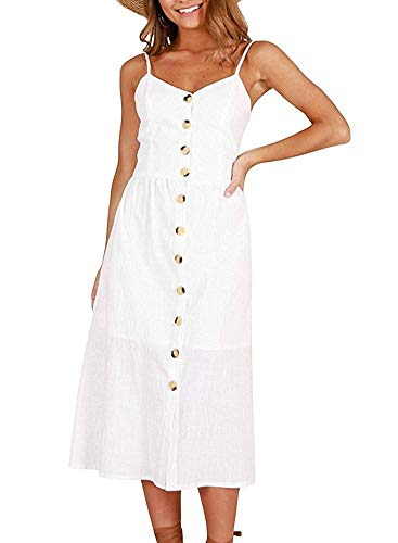Oops Style Plain White Midi Beach Dress Buttons Down Spaghetti Strap Tea (Shoulder Straps Tea)