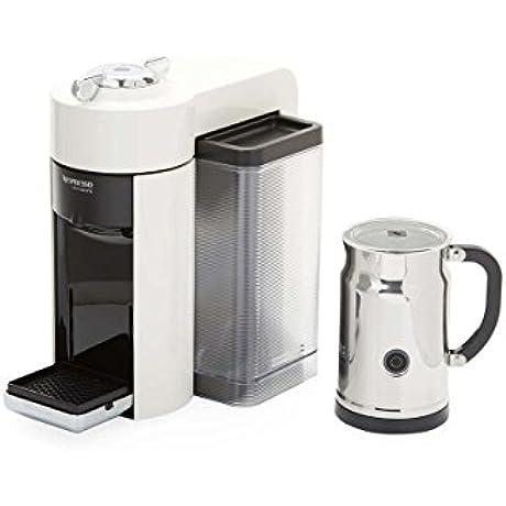 Nespresso A GCC1 US WH NE VertuoLine Evoluo Coffee Espresso Maker With Aeroccino Plus Milk Frother White