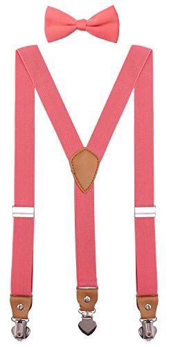 SUNNYTREE Baby Boys' Suspenders Adjustable Y Back with Bow Tie Set for Wedding Party 24 inches Coral