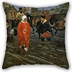 Pillowcover 18 X 18 Inches 45 By 45 Cm 2 Sides Nice Choice For Festival car family bar Seat kids Girls couch Oil Painting Andrei Ryabushkin Seventeenth Century Moscow Street On A Public Holiday