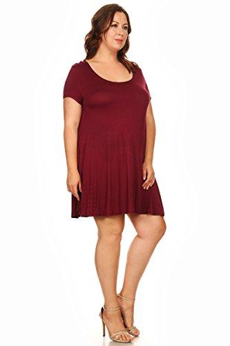 Burgundy Knit Plus Short A Sleeve Women Size s Dress Line Jersey wB4xPpaRq