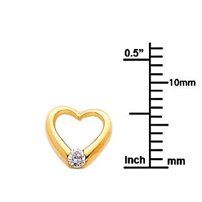 Wellingsale 14K Yellow Gold Polished Open Heart Stud Earrings With Screw Back