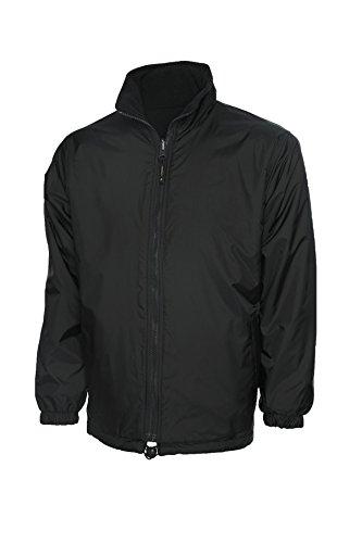Premium Reversible chaqueta de forro polar abrigo impermeable ocio al aire libre de trabajo bolsillos negro