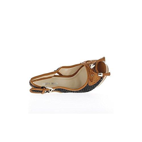 Sandalias De Tacón De Color Camel Y Negro 13cm Y Plataforma
