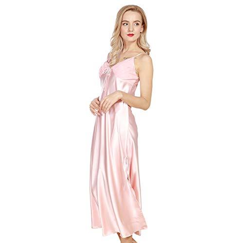 176e0487afcd 4Ping Women's Spring and Summer Imitation Silk Pajamas Long Paragraph Split  Sexy Sling Sleep Dress Pink
