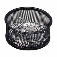 Sparco Steel Mesh Paperclip Holder, BLACK - Office Paper Clip Holder