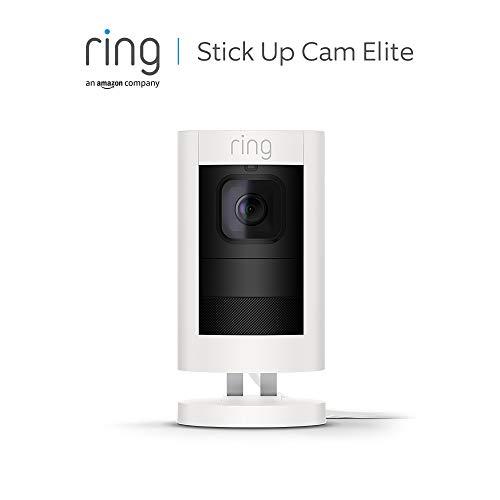Ring Stick Up Cam Elite – Cámara de seguridad HD, comunicación bidireccional, alarma sonora, compatible con Alexa, color…