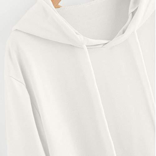 Tops Maglietta Felpe Bianco Elegante Tumblr Unita Camicetta Pullover Felpa Donna Lunga Donne VICGREY Tops Tinta Ragazza con Cappuccio Cat Magliette Casual Manica FUqTwT
