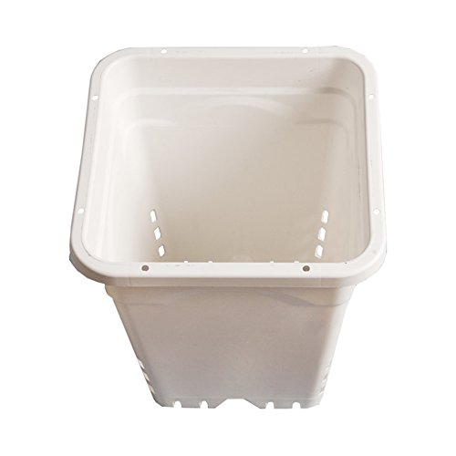 Hydrofarm Square White Pot, 24 per Case by Hydrofarm