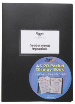 Tiger A5 flexicover 20 pocket display book presentation folder BLACK flexible cover
