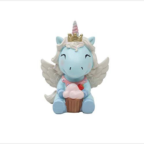 Cyrra Mini Praying Unicorn Angle Figurine Doll Figurine Trinket Keepsake Nice Addition Resin Figurine, Blue, 2.5x1.9x3.3 inch (Cupcake Blue Unicorn) ()