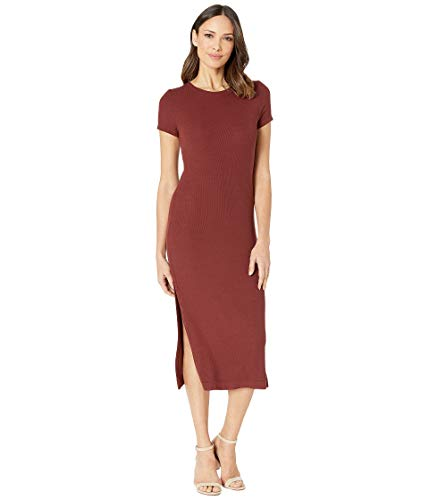 Three Dots Women's Ribbed Dress with Side Slits, Brunello, Small ()