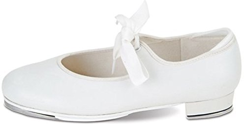Value Comfort Tap with Elastic and Grosgrain Ribbon Ties and Star Tone Toe and Heel Taps (7TOD, WHITE) (Ties For Tap Shoes compare prices)